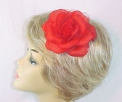 Silk And Chiffon Red Flower - Pin, Clip - Pony Tail Holder