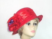Subtle Satin Straw Red Hat - Red Hat Society Lady Colors