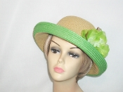 Green Two Tone Up Brim Hat With Flower