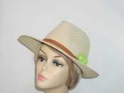 Straw Panama Hat With green Flower