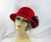 Magnificent Mum Felt Cloche Red Hat - Red Hat Society Ladies