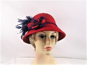 Felt Feather Flower Cloche Red Hat - Red Hat Society Ladies