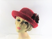 Adorable Angora Bowler Hat - Red Hat Society Ladies