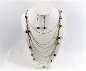 Red Bead - Multi Layer Chain Necklace - Earring Set- Red Hatters