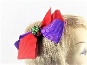 St Patricks Day Red Purple Hair Bow - My Red Hat Store Exclusive