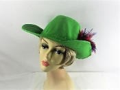 Saint Patricks Day Green Western Hat - Red Hat Society Lady