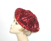 Red Hat Ladies Red Sequin Beret