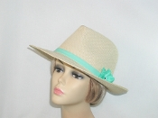 Straw Panama Hat With Aqua Flower