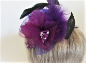 Purple Feather - Flowers Pin, Clip- Red Hat Accessory