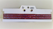 Iridescent Red Choker Necklace - Earrings - Red Hat Ladies Bling