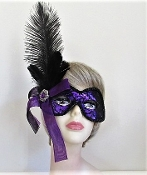 Purple Lace Ostrich Feather Mask - Red Hat Society Ladies