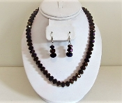 Purple Iridescent Beaded Necklace Earring Set - Red Hat Lady