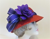 Casual Cloche Straw Red Hat - Red Hat Society Lady Accessory