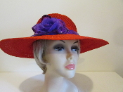 Festive Flower Red Hat - Red Hat Society Ladies Hat